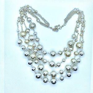 Jewelry - Vintage Four Strand Metallic Bib Necklace